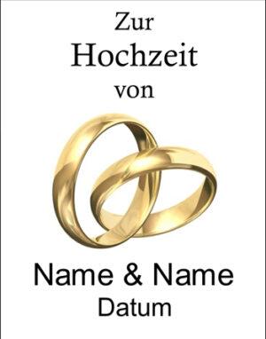 Wunschetikett: Hochzeit mit goldenen Ringen
